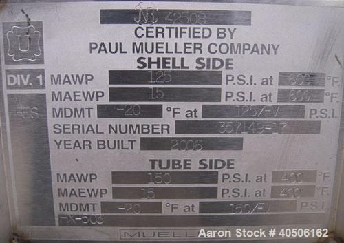 Unused- Mueller 2 Pass Shell and Tube Heat Exchanger, 101 square feet, horizontal. STI Tema Type BEM, Tema Size 6-240, Tema ...