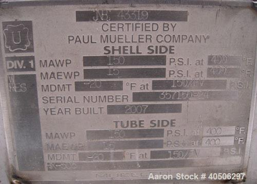 Unused- Mueller 4 Pass Shell And Tube Heat Exchanger, 9 square feet, Horizontal. Tema Type BEM, Tema Size 6-48, Tema Class C...