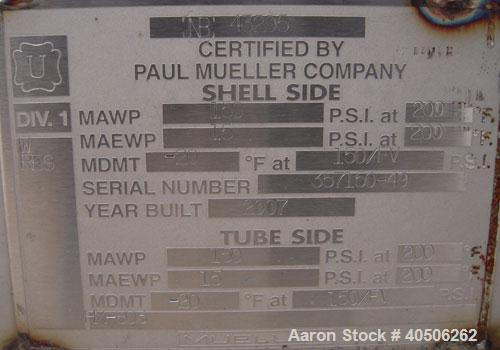 Unused- Mueller Single Pass Shell and Tube Heat Exchanger, 42 square feet, horizontal. Tema Type BEM, Tema Size 6-96, Tema C...