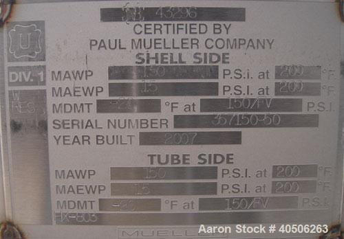 Unused- Mueller Single Pass Shell snd Tube Heat Exchanger, 42 square feet, horizontal. Tema Type BEM, Tema Size 6-96, Tema C...