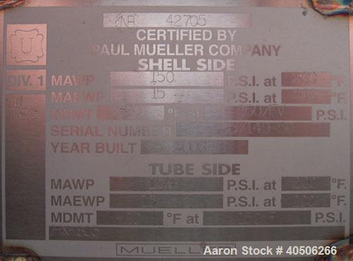 Unused- Mueller Single Pass Shell and Tube Heat Exchanger, 42 square feet, horizontal. Tema Type BEM, Tema Size 6-96, Tema C...