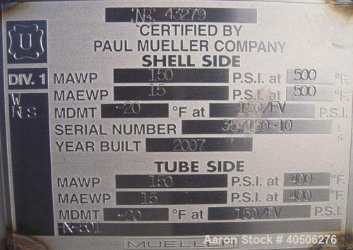 Unused- Mueller 4 Pass U Tube Shell and Tube Heat Exchanger, 175 square feet, horizontal. Tema Type BEU, Tema Size 10-192, T...