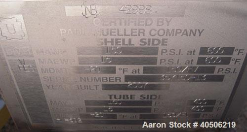 Unused- Mueller U Tube Shell and Tube Heat Exchanger, 56 square feet, horizontal. Tema Type BEU, Tema Size 6-192, Tema Class...