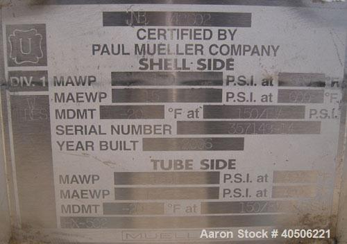 Unused- Mueller U Tube Shell and Tube Heat Exchanger, 56 square feet, horizontal. Tema Type BEU, Tema Size 6-192, Tema Class...
