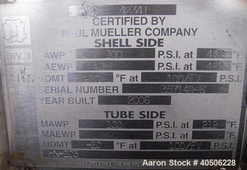 Unused- Mueller U Tube Heat Exchanger, 18 Square Feet, Horizontal. STI Tema Type BEU, Tema Size 8-48, Tema Class C. 304 stai...