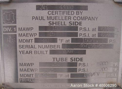 Unused- Mueller 4 Pass U Tube Shell And Tube Heat Exchanger, 25 square feet, Horizontal. Tema Type BEU, Tema Size 6-96, Tema...