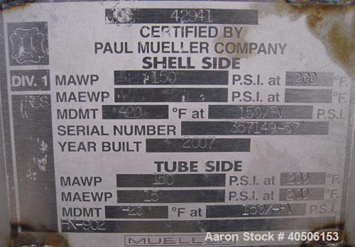 Unused- Mueller Single Pass Shell and Tube Heat Exchanger, 77 square feet, horizontal. STI Tema Type BEU, Tema Size 8-108, T...