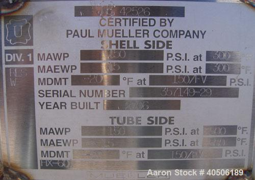 Unused- Mueller 6 Pass U Tube Shell and Tube Heat Exchanger, 84 square feet, horizontal. Tema Type BEU, Tema Size 8-216, Tem...