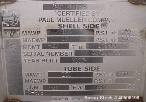 Unused- Mueller U Tube Shell And Tube Heat Exchanger/ Reboiler, 208 Square Feet,    Horizontal. STI Tema Type BKU, Tema Size...