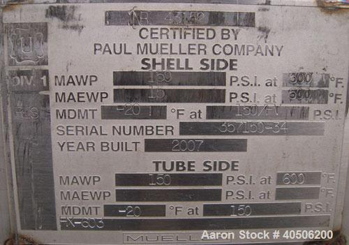 Unused- Mueller U Tube Shell And Tube Heat Exchanger/ Reboiler, 208 Square Feet,    Horizontal. STI Tema Type BKU, Tema Size...