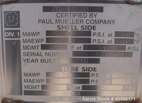 Unused- Mueller U Tube Shell and Tube Heat Exchanger/ Reboiler, 1270 Square  Feet,  Horizontal. STI Tema Type BKU, Tema Size...
