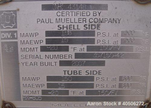 Unused- Mueller U Tube Shell and Tube Heat Exchanger, 31 Square Feet, Horizontal. Tema Type BKU, Tema Size 6/12-120, Tema Cl...
