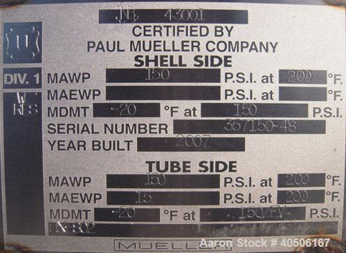 Unused- Mueller Shell and Tube Heat Exchanger, 341 square feet, horizontal. Carbon steel shell rated 150 psi at 200 deg F an...