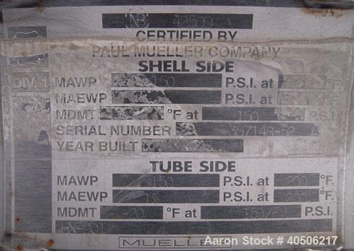 Used- Mueller Shell and Tube Heat Exchanger, 235 square feet, horizontal. Carbon steel shell rated 150 psi at 200 deg   F an...