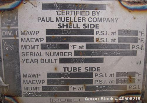 Used- Mueller Shell And Tube Heat Exchanger, 235 Square Feet, Horizontal. Carbon steel shell rated 150 psi at 200 deg.f., an...