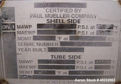 Unused- Horizontal Mueller U Tube Shell and Tube Heat Exchanger / Reboiler