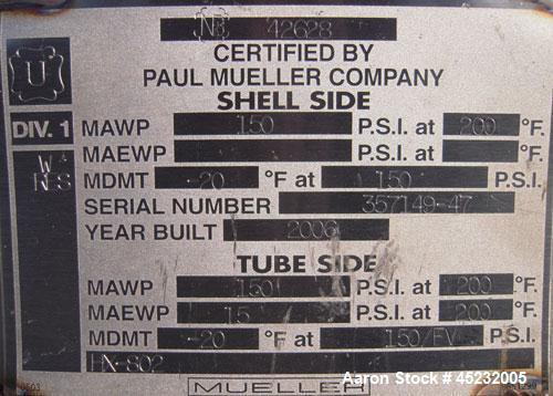 Unused- Horizontal Mueller Shell and Tube Heat Exchanger