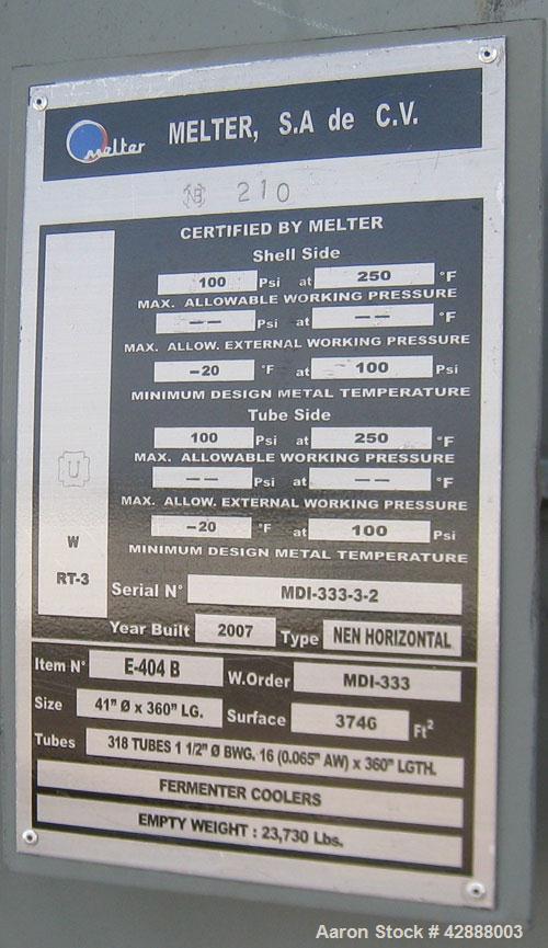 Unused- Melter S.A. de C.V. 2 Pass Shell & Tube Heat Exchanger, 3746 Square Feet, Type NEN, Horizontal. Carbon steel shell r...