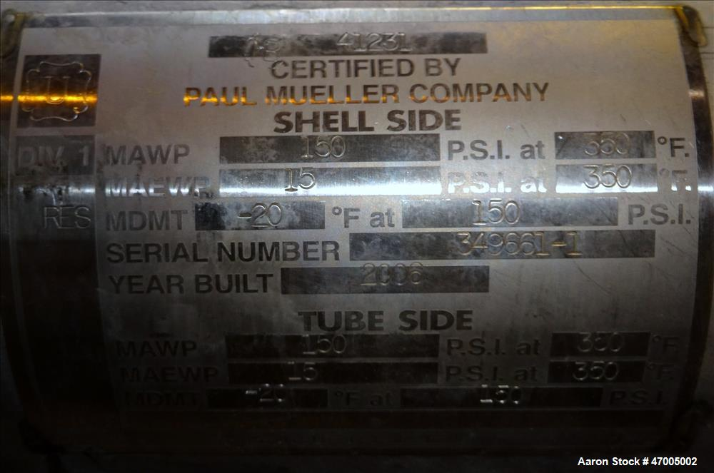 """Used- Paul Mueller """"U"""" Tube Heat Exchanger, Approximate 23 Square Feet, Horizont"""