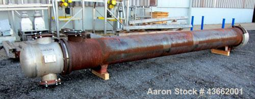 Used- Perry Products Multiple Pass Shell & Tube Heat Exchanger, 1905 Square Feet, Horizontal. Carbon steel shell rated 150 p...