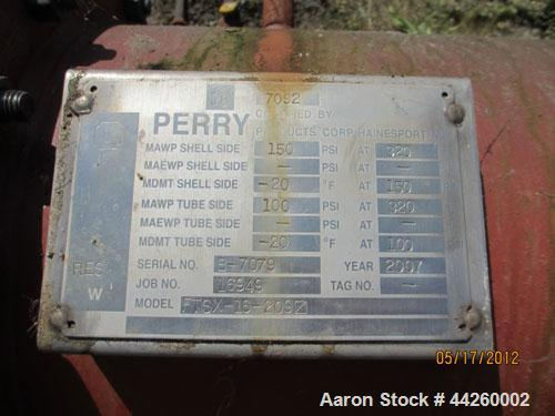 Used- Perry Products Single Pass Shell And Tube Heat Exchanger, 209 Square Feet, Model FTSX-16-209, Horizontal. Carbon steel...