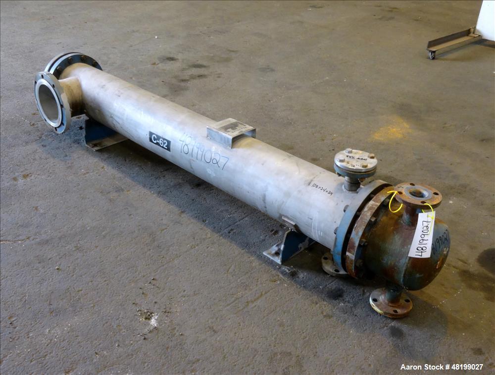 Used- Pfaudler 4 Pass Shell & Tube Heat Exchanger, 99 Square Feet, Horizontal.