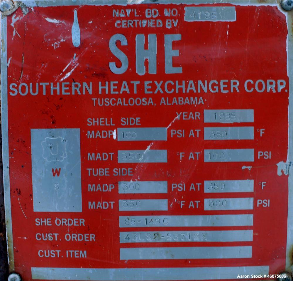 Used- Southern Heat Exchanger Shell & Tube Heat Exchanger, Approximate 124 Square Feet, Horizontal. Carbon steel shell rated...
