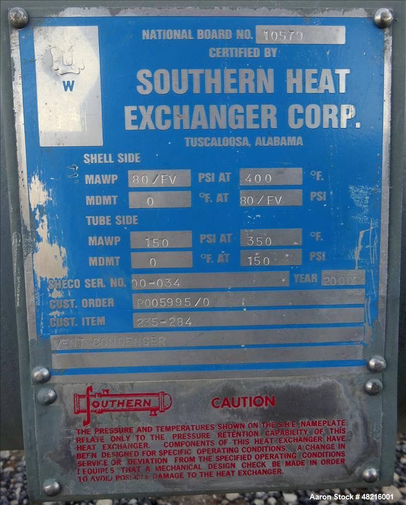 Unused- Southern Heat Exchanger Shell And Tube Heat Exchanger, 195 Square Feet