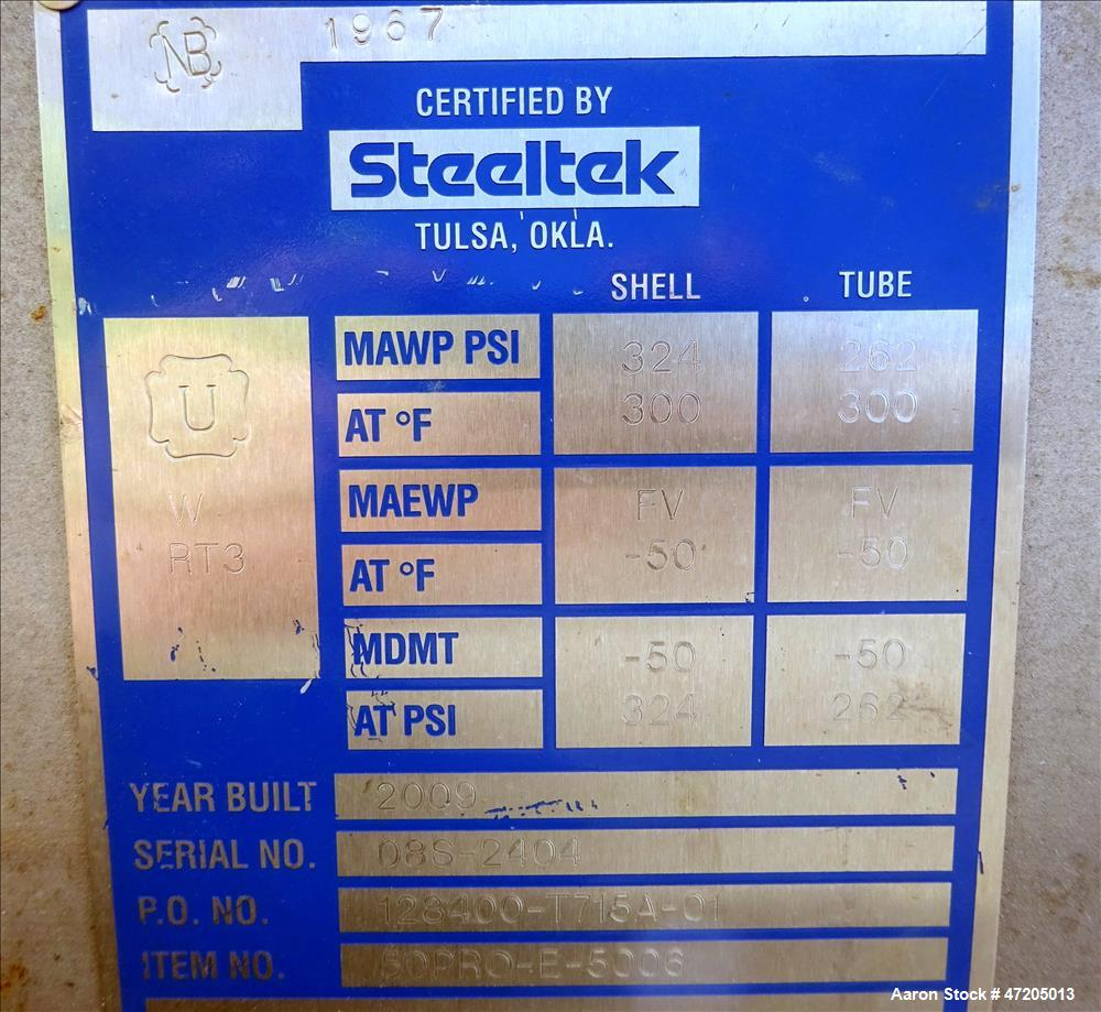 Unused- Steeltek Single Pass Shell & Tube Heat Exchanger, 1,225 Square Feet, Typ