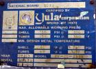 Used- Yula Corporation U Tube Heat Exchanger, approximately 16 square feet, horizontal, model CV-2C-39BS. Carbon steel shell...