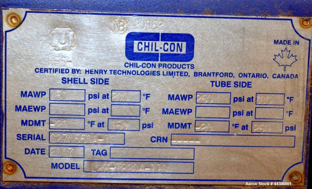 Unused- Chil-Con Products Single Pass Shell and Tube Heat Exchanger, 609 Square Feet, Horizontal, Model LXX-12204-110 Gas Co...