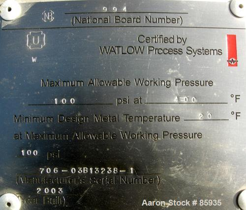 Used-Unused- Watlow Electrically Heated Circulation Heater, 210 KW. Rated 100 PSI at 400 Degrees F. 310 stainless steel elem...