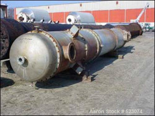 "USED: (1) Weldon shell & tube heat exchanger, 6300 square feet. 316 stainless steel construction, (926) 1"" diameter x 26' lo..."