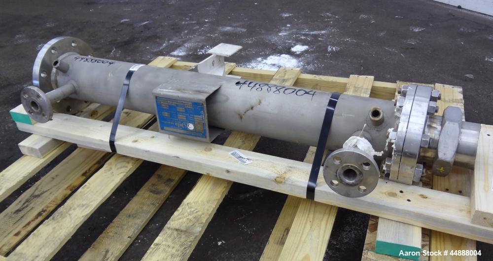 Used- Yula Corporation Single Pass Shell & Tube Heat Exchanger, 19 Square Feet, Vertical. Model WC-1A-42AAS. 316L Stainless ...