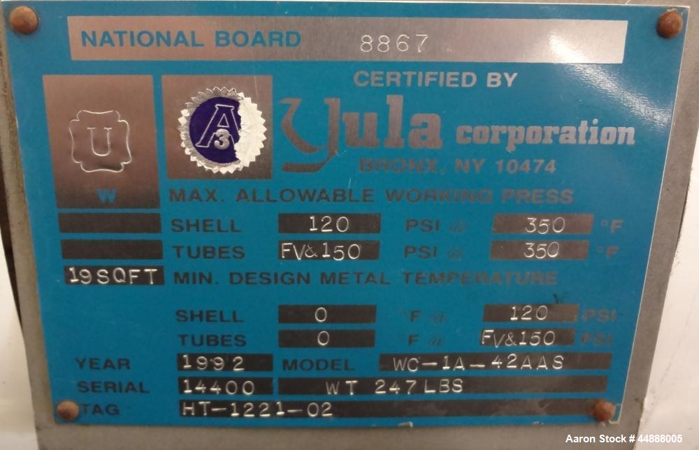 Used- Yula Corporation Single Pass Shell & Tube Heat Exchanger, 19 Square Feet, Vertical, Model WC-1A-42AAS