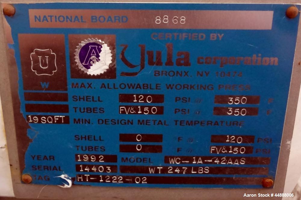 Used- Yula Corporation Vertical Single Pass Shell & Tube Heat Exchanger, 19 Square Feet, Model WC-1A-42AAS