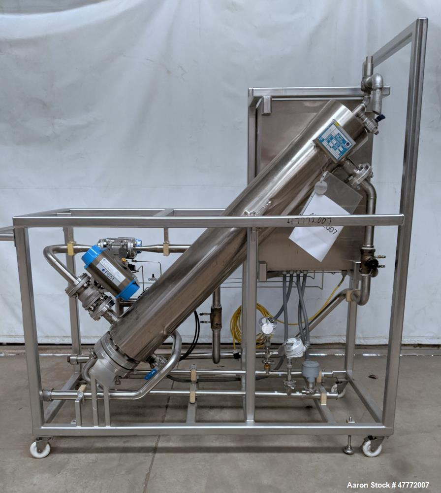 Used- Yula Corporation U-Tube Heat Exchanger, Approximate 34 Square Feet, Model WCV-2B-60AAS, Stainless Steel, Vertical. 304...