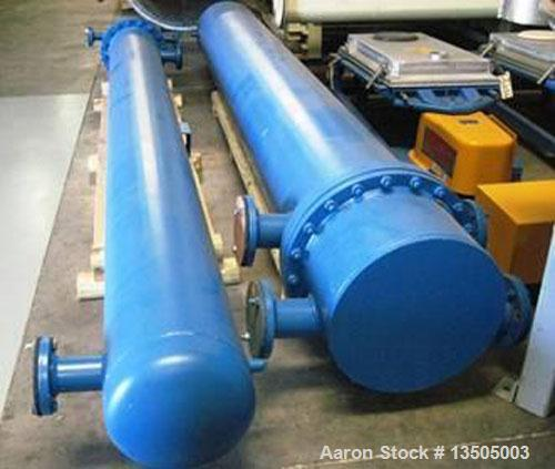 Used-Yula Shell and Tube Heat Exchanger, Model WCV-8J-144A2S. Design shell and tube for 150 psi @ 300 deg F. 724 square foot...