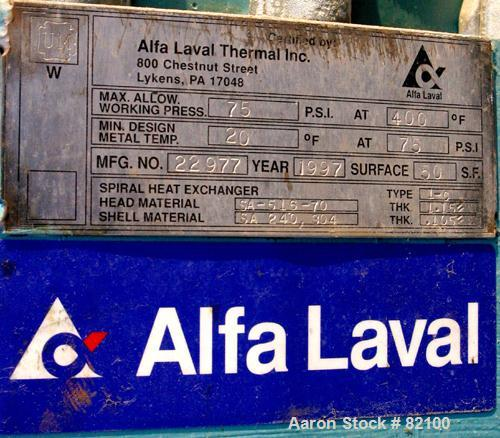 USED: Alfa Laval Spiral Heat Exchanger, 50 square feet, model 1-C, 304 stainless steel on product contact. Rated 75 psi at 4...