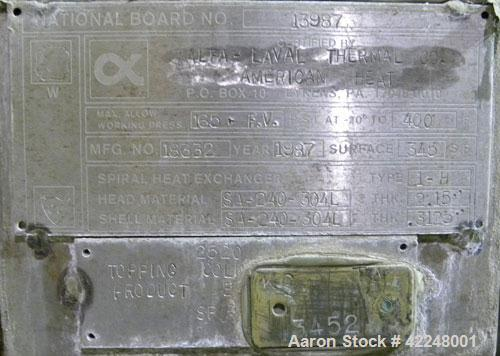 Used- Alfa Laval Spiral Heat Exchanger, type 1-H, 345 square feet, 304L stainless steel. Rated 165 and full vacuum at 400 de...