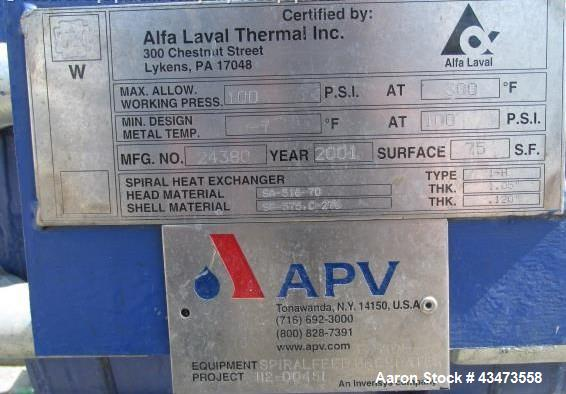 Used- Alfa-Laval Spiral Heat Exchanger, 75 Square Feet, Type 1-H. Hastelloy C 276 product contact surfaces, rated 100 psi at...