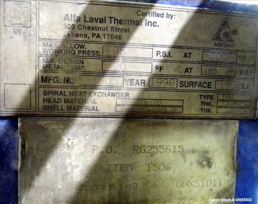 Used- 190 Square Feet Alfa Laval Spiral Heat Exchanger