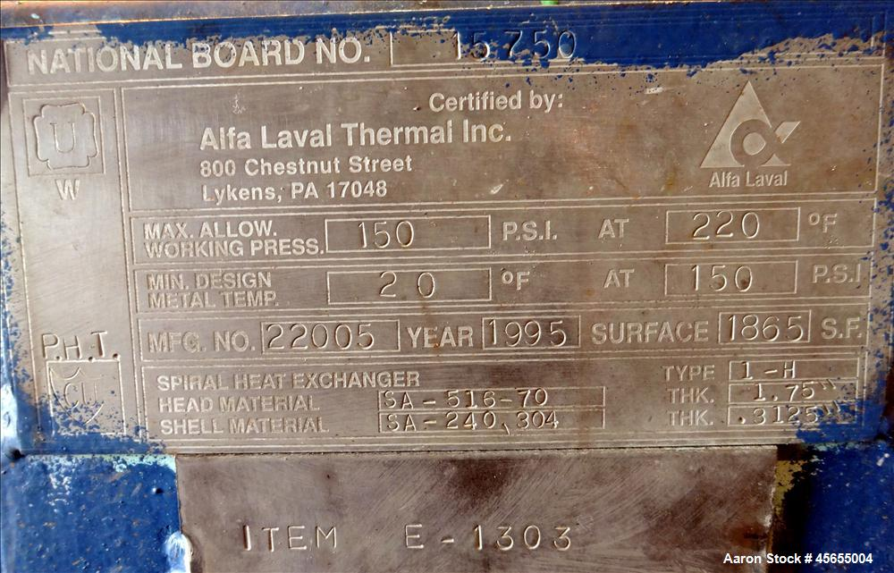 Used- 1,865 Square Feet Alfa Laval Spiral Heat Exchanger