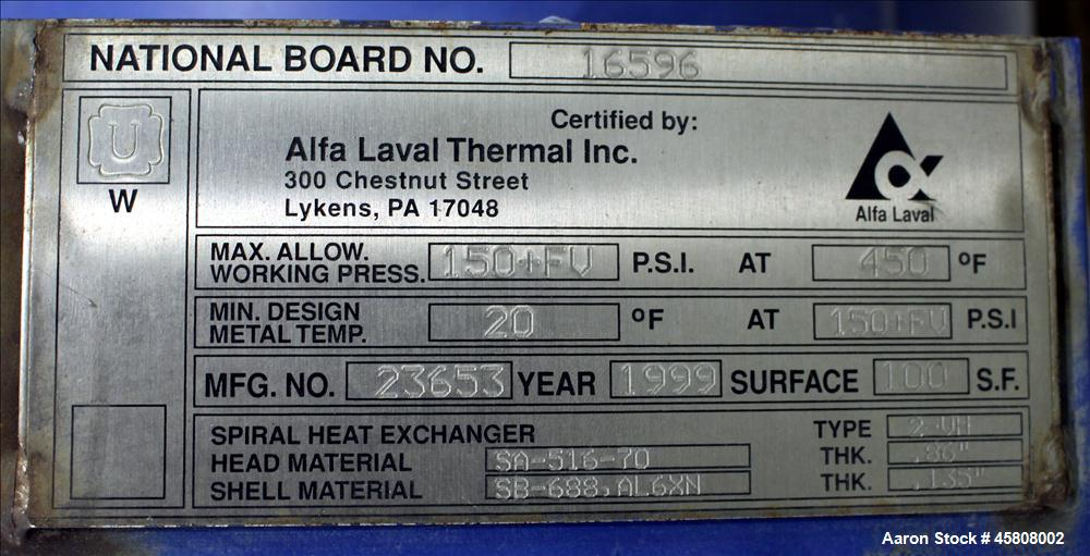 Used- Alfa Laval Spiral Heat Exchanger, Type 2-VH