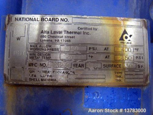 Used-Alfa Laval spiral type 1-V heat exchanger, 300 square feet. Max allowable working pressure 150 psi at 400 deg F. Min De...