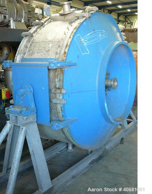 Used-Alfa Laval Spiral Heat Exchanger, 65.4 square meters, 316 stainless steel, 1997, 1625 mm diameter. Channel A volume 830...