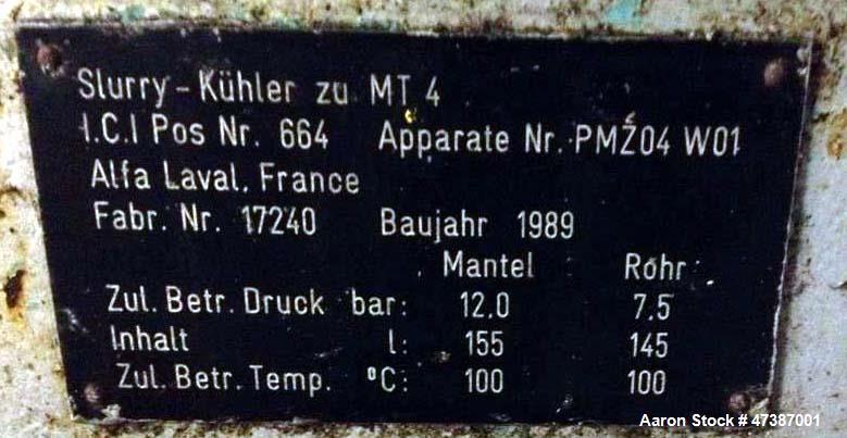 Used- Alfa Laval Spiral Heat Exchanger, Model IH. Pressure mantel: 12 bar. Internal pressure: 7,5 bar. Mantel capacity: 155 ...