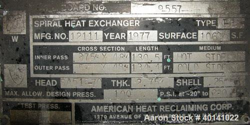 Used- American Heat Reclaiming Horizontal Spiral Heat Exchanger, type 1H, 1060 square feet, 316L stainless steel product con...