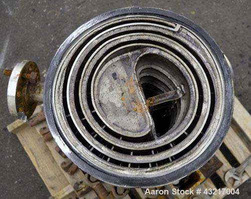 Used- American Heat Reclaiming Vertical Spiral Heat Exchanger, Type 1-V, 30 Square Feet. 304 Stainless steel. Hot and cold s...