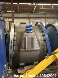 Used- Alfa Laval Stainless Steel Spiral Heat Exchanger, Model 1H-L-1T. Material of construction is stainless steel 316L shel...